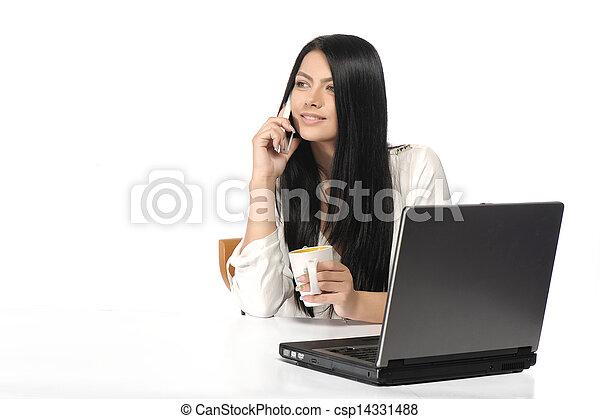 kobieta handlowa, szczęśliwy, portret, laptop - csp14331488