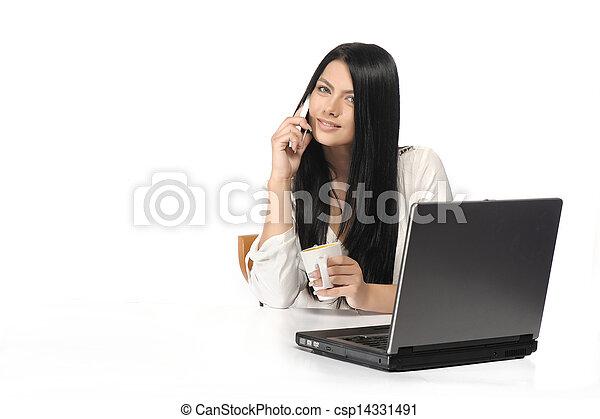 kobieta handlowa, szczęśliwy, portret, laptop - csp14331491