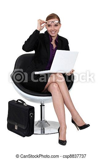 kobieta interesu, nowoczesny, chair., posiedzenie - csp8837737