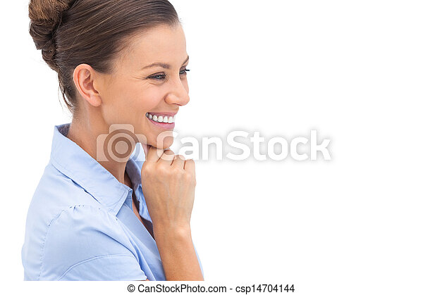 kobieta interesu, podbródek, śmiech, ręka - csp14704144