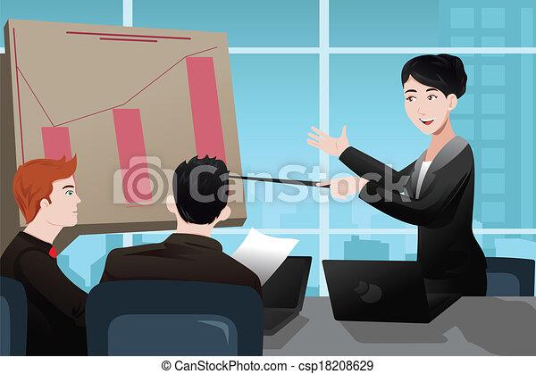 kobieta interesu, prezentacja, zrobienie - csp18208629