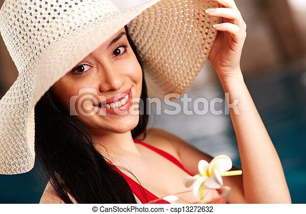 kobieta, kapelusz - csp13272632