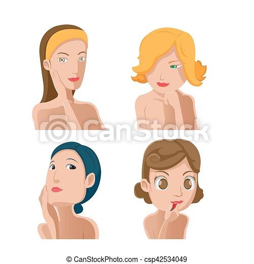 kobieta, komplet, piękno, zbiór, wektor, portret - csp42534049