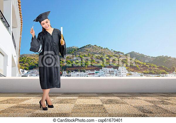kobieta, korona, dyplom, skala, asian, ładny, woluta - csp61670401