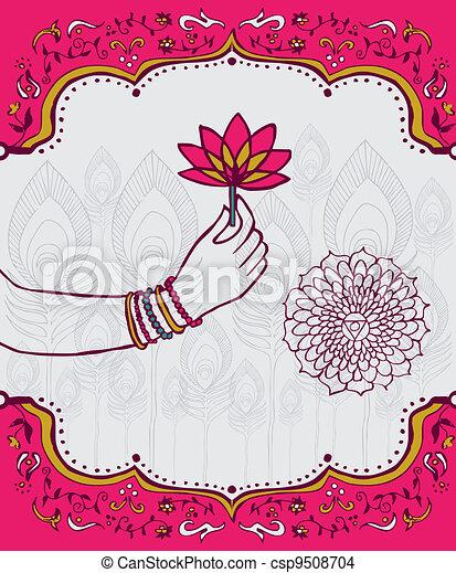 kobieta, lotos, indie, ręka, kwiat, tło - csp9508704