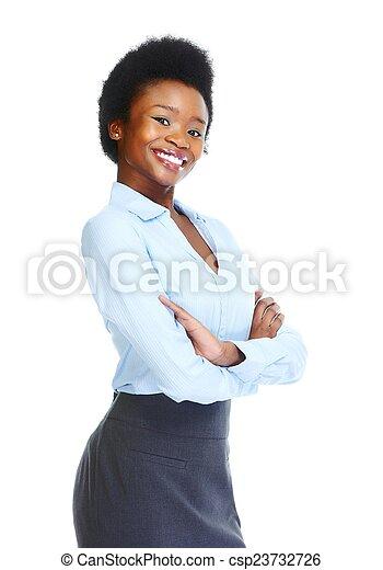 kobieta, młody, handlowy, afrykanin - csp23732726