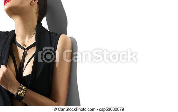 kobieta, młody, odizolowany, czarne tło, portret, sexy, biały, odzież - csp53630079