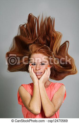 kobieta, młody, odizolowany, tło, sexy, portret, biały - csp12470569
