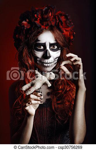 Kobieta Muertos Skull Lalka Makijaż Młody Ostry Wiara W