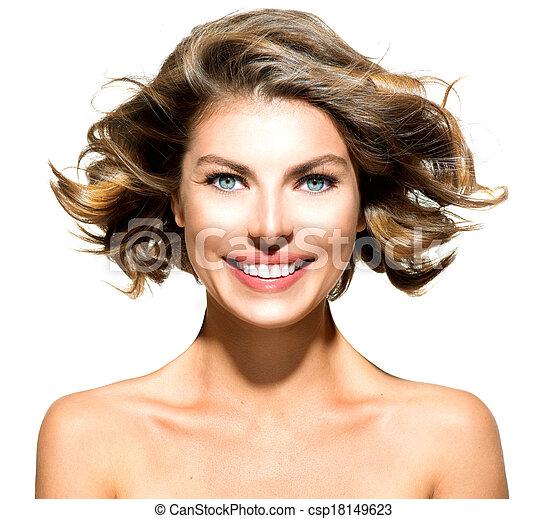 kobieta, piękno, na, młody, odizolowany, portret, biały - csp18149623