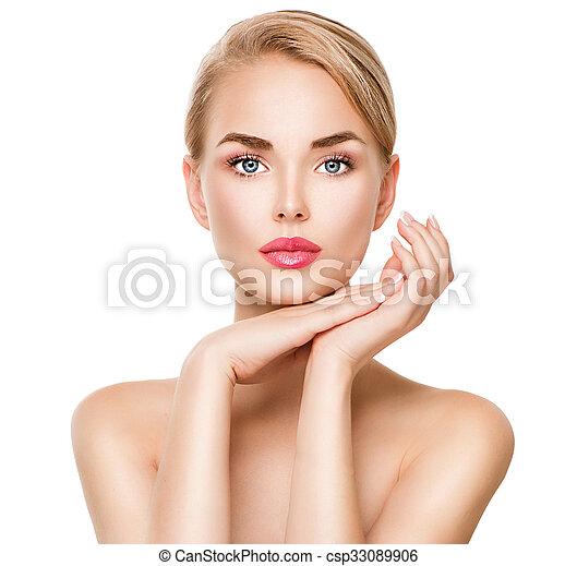 kobieta, piękno, odizolowany, młody, portret, zdrój, biały - csp33089906