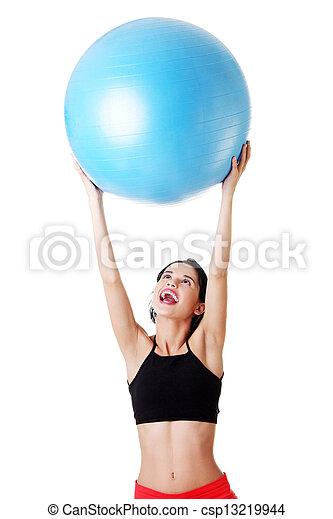 kobieta, pilates, ruch, ball. - csp13219944