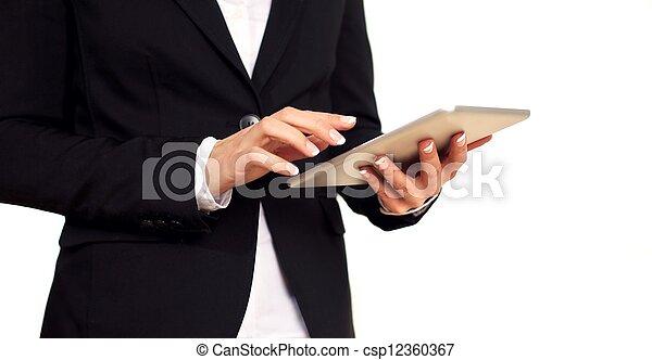 kobieta, pracujący, tabliczka, handlowy, samica, cyfrowy - csp12360367
