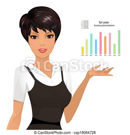 kobieta, przedstawiając, handlowy - csp18064728