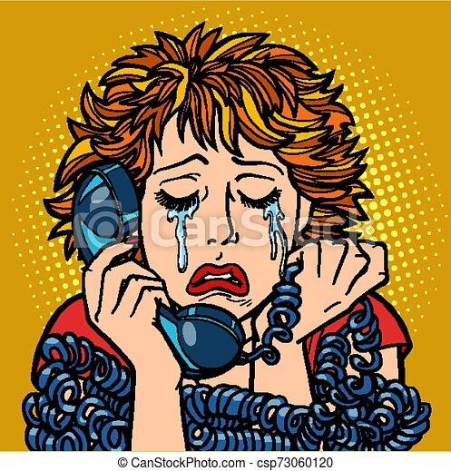 kobieta, rozmowa, ludzki, emotions., płacz, telefon - csp73060120