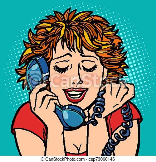 kobieta, rozmowa, shame., kłopot, zakłopotany, telefon - csp73060146