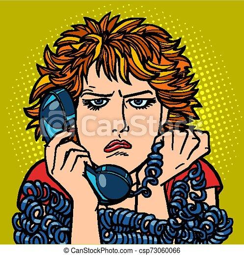 kobieta, sad., rozmowa, ludzki, emotion., telefon, przewrócić - csp73060066