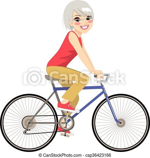 kobieta, senior, jeżdżenie - csp36423166