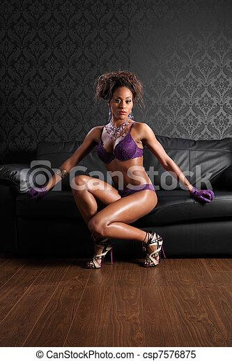 kobieta, skóra, amerykanka, bielizna, afrykanin, sexy - csp7576875