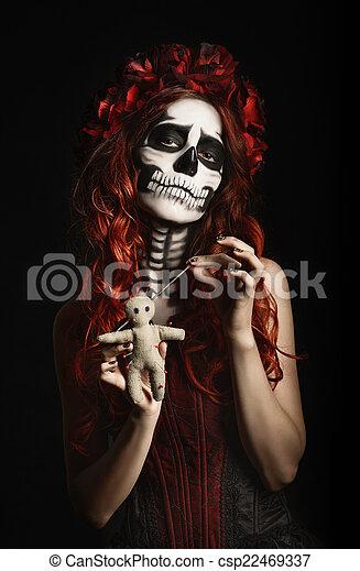 Kobieta Sugar Skull Lalka Calavera Makijaż Młody Ostry
