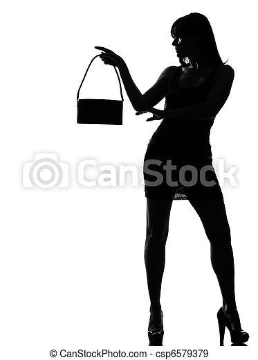kobieta, sylwetka, dzierżawa, portmonetka, w, szykowny - csp6579379