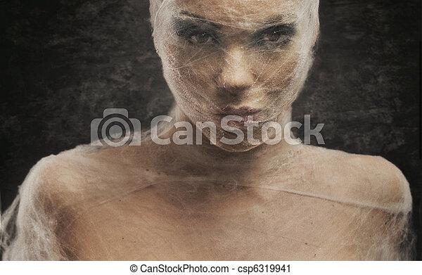 kobieta, sztuka, młody, bandaż, portret, delikatny - csp6319941