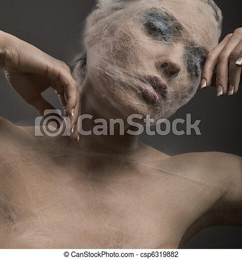 kobieta, sztuka, młody, bandaż, portret, delikatny - csp6319882