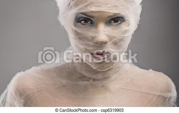 kobieta, sztuka, młody, bandaż, portret, delikatny - csp6319903