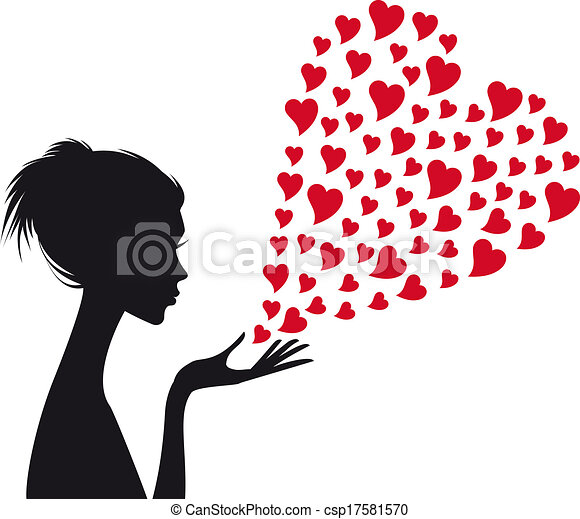 kobieta, wektor, czerwony, serca - csp17581570