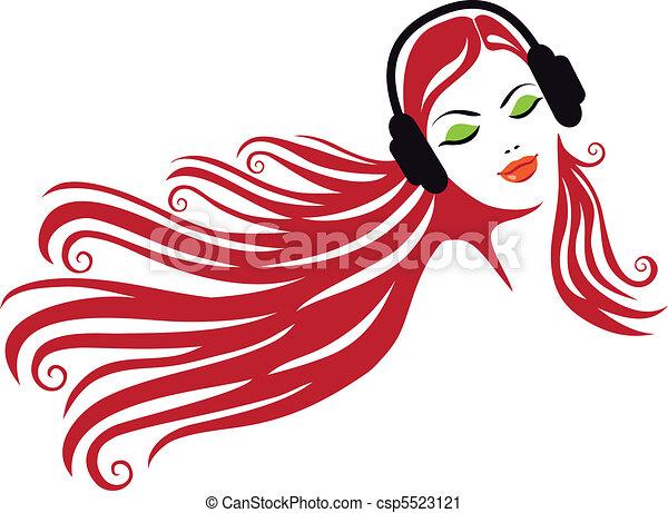 kobieta, wektor, słuchawki - csp5523121