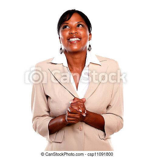 kobieta, wykonawca, do góry, patrząc, pociągający, uśmiechanie się - csp11091800