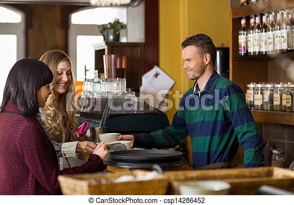 kobiety, kawa, służąc, kelner, kantor - csp14286452