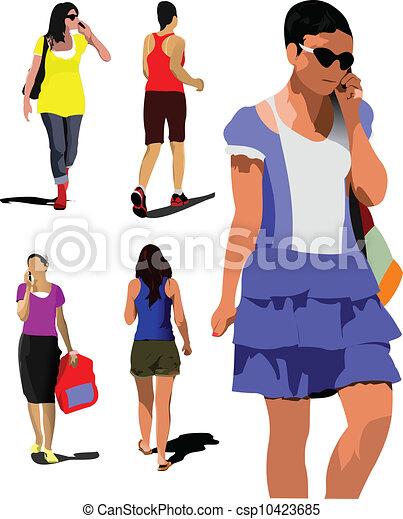 kobiety, młody, zbiór, silhouet - csp10423685