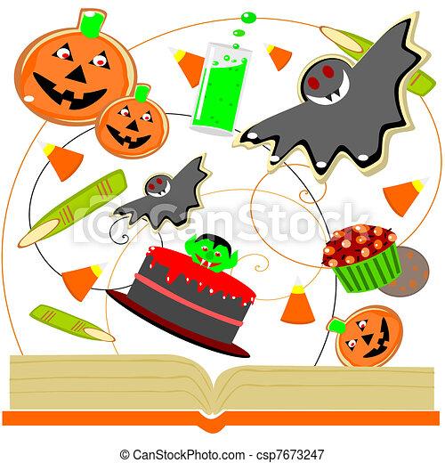 Kochbuch, halloween. Kuchen, süßigkeiten, pl�tzchen,... Vektoren ...