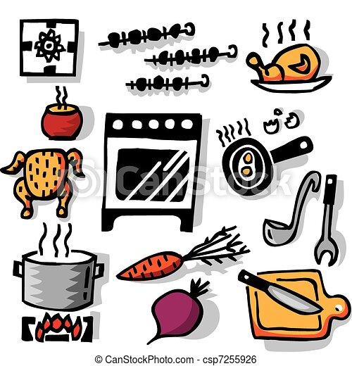 Kochen gegenst nde illustration farbe freigestellt for Meine wohnung click design download