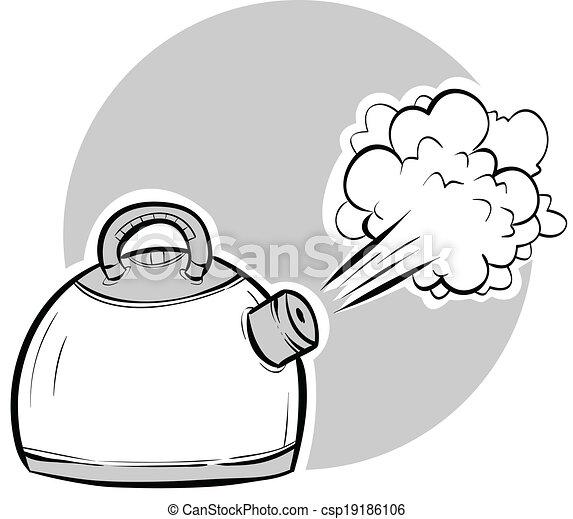 Kochen, kessel. Sprengen, dampf, kettle., kochen, karikatur.