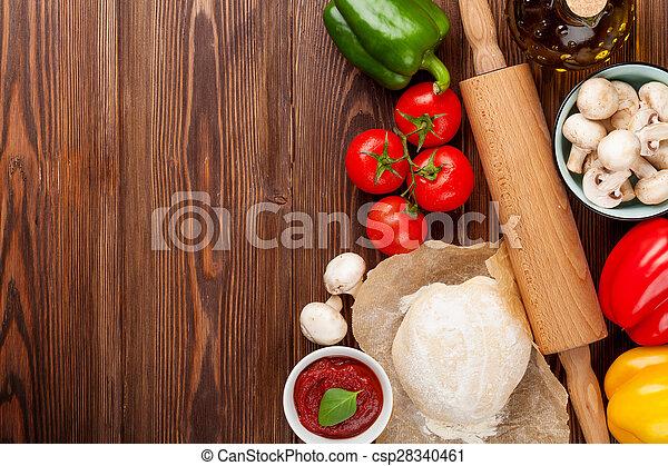 kochen, pizza, bestandteile - csp28340461