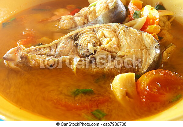 """Kod"" fish with Thai's spicy in hot soup - csp7936708"