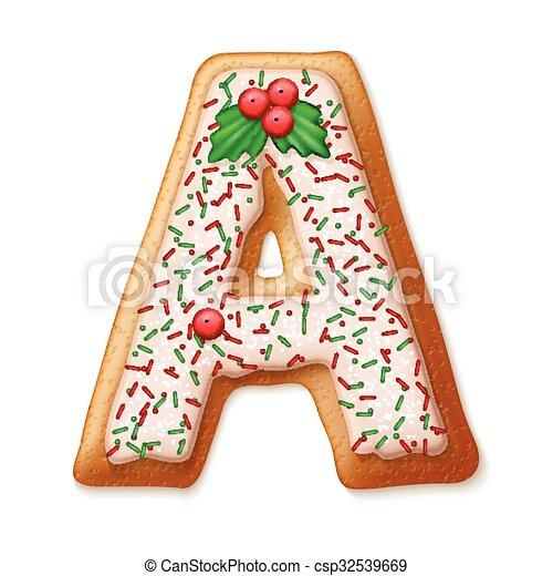 koekjes, alphabet., illustration., vector, peperkoek, kerstmis - csp32539669