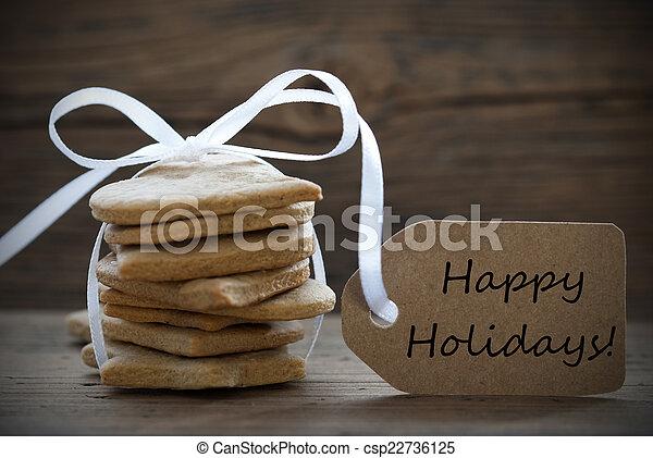 koekjes, etiket, gember, feestdagen, brood, vrolijke  - csp22736125