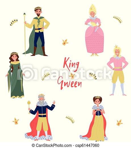 sammlung von märchenfiguren, könig, kron, prinz und