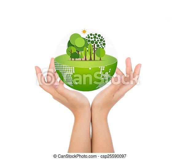 koerper, frau, eco, aus, hände, erde, halten, feundliches  - csp25590097