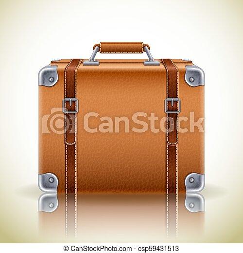 Ongekend Koffer, retro, ikone. Brauner, leder, weinlese, -, abbildung LJ-02