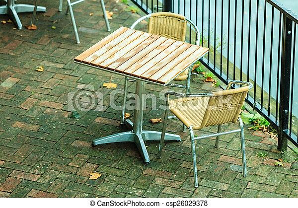 Koffie, buiten restaurant, lucht, koffiehuis, open. Zomer