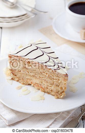 esterhazy taart Koffie, hongaars, kop, ouderwetse , traditionele , taart  esterhazy taart