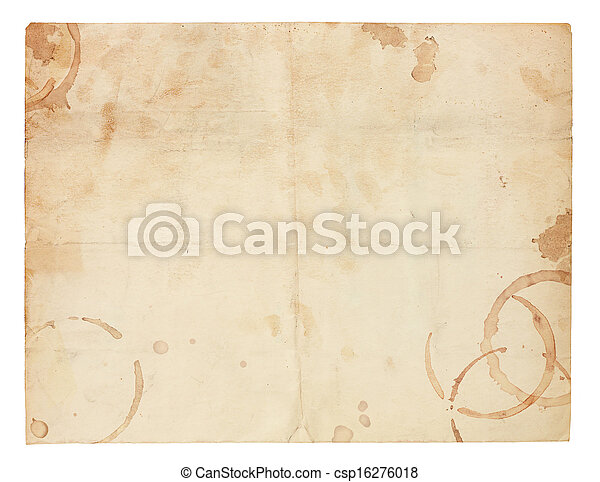 koffie, oud, vlekken, papier, leeg, ring - csp16276018