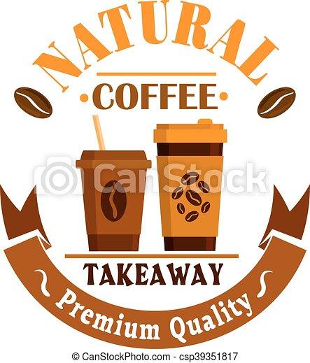 koffie, poster., etiket, takeaway, koppen, pictogram - csp39351817