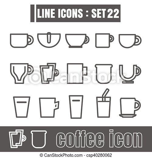 koffie stel, kop, meetkunde, recht, iconen, lijnen, moderne, bochten, vector, zwarte achtergrond, ontwerp, lijn, stijl, witte , communie - csp40280062