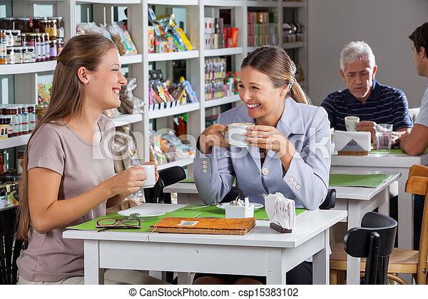 koffie, vrouwen, hebben, supermarkt, vrolijke  - csp15383102