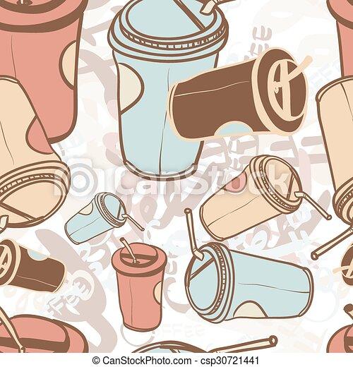 koffie, woord, kop, model, etiketten, seamless, textiel, takeaway - csp30721441